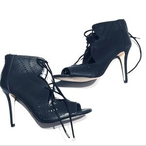 Call It Spring Black Lace Up Cut Out Open Toe Heel Booties Size 10